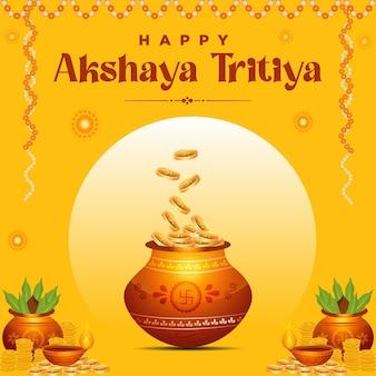 Creative banner design of happy akshaya tritiya