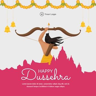 Creative banner design of happy dussehra festival template