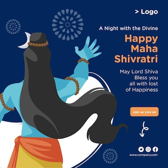 Creative banner design of happy maha shivratri template
