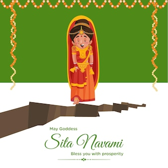 Creative banner design of indian festival sita navami cartoon style template