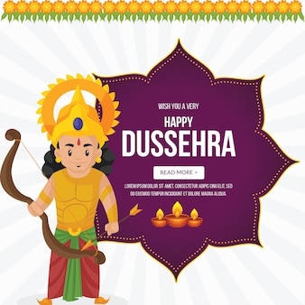 Креативный дизайн баннера желаю вам очень счастливого шаблона индийского фестиваля dussehra