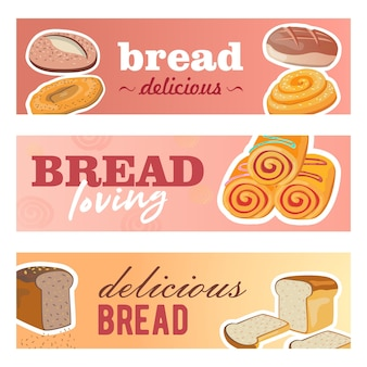 Creative banner designs with fresh bread. delicious cereal loafs and rolls on pastel