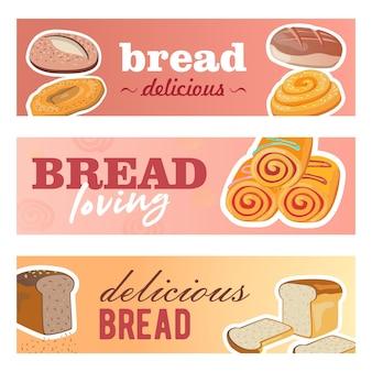 Disegni di banner creativi con pane fresco. deliziose pagnotte di cereali e panini su pastello