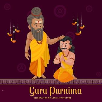 Creative banner illustration for the day of honoring celebration guru purnima