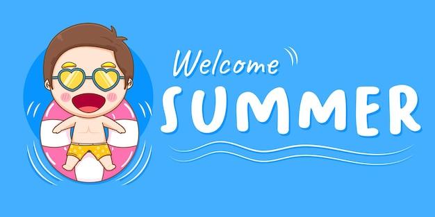 Творческий баннер милый мальчик с летним приветствием