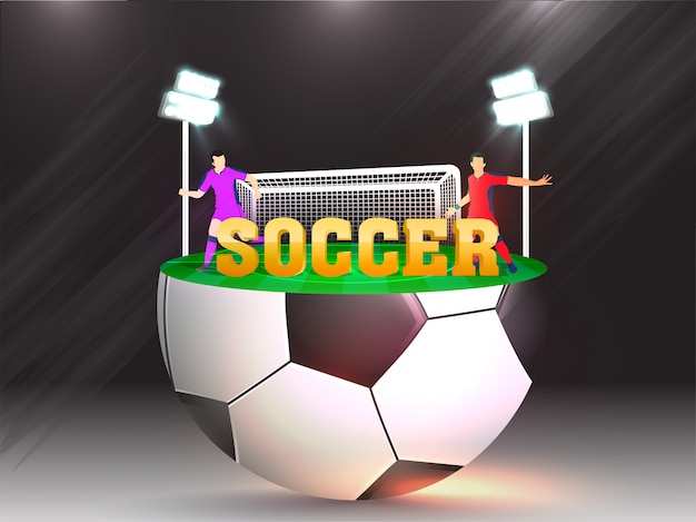 Creative banner or poster design with 3d golden text soccer