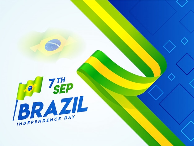 Creative banner or poster design with brazil national flag for 7th september
