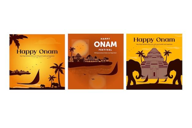 Creative banner set of happy onam festival template