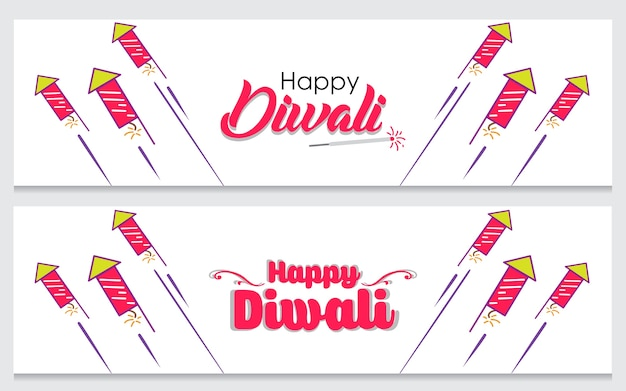 Creative banner set for indian festival diwali