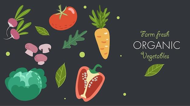 신선한 야채와 함께 창의적인 배너입니다. 트렌디한 플랫 낙서 템플릿입니다. 토마토, 버섯, 양배추, 후추, 당근, 무, 채소. 어두운 배경에서 신선한 유기농 채소를 재배하세요. 벡터 일러스트 레이 션.