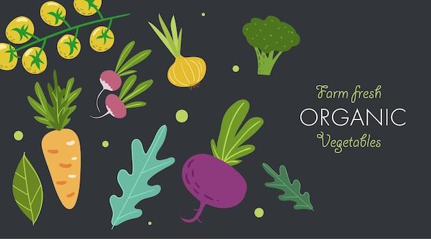 신선한 야채와 함께 창의적인 배너입니다. 트렌디한 플랫 낙서 템플릿입니다. 토마토, 양파, 비트, 당근, 브로콜리, 채소. 어두운 배경에서 신선한 유기농 채소를 재배하세요. 벡터 일러스트 레이 션.