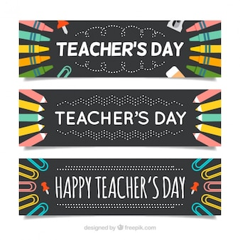 Creative banners set of teacher's day