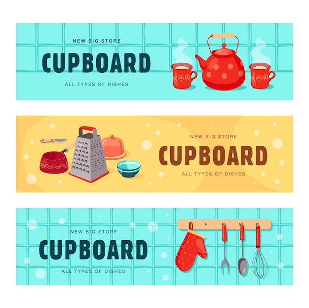 Creative banners set with dishes for cupboard. banners set with kettle, cups, grater, whisk, oven glove