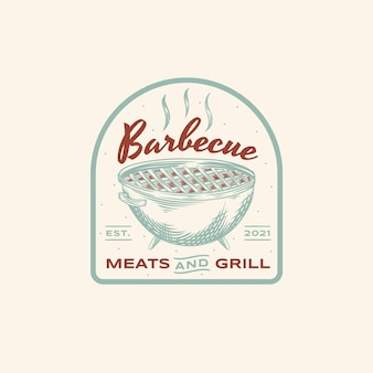 Креативный шаблон логотипа барбекю с деталями