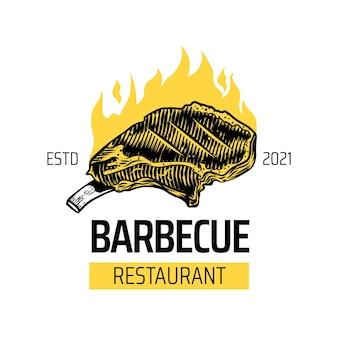 Modello logo barbecue creativo