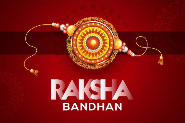 Creative beautiful rakhi on red background for raksha bandhan vector illustration