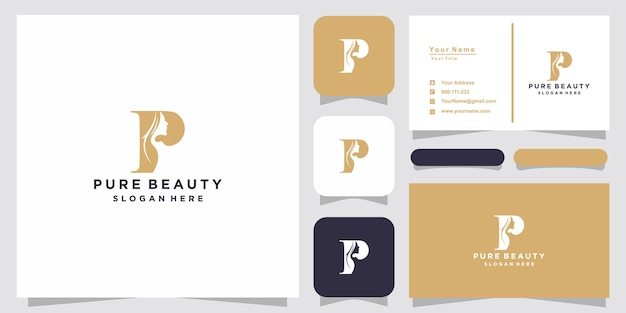 Creative beautiful woman's face with p logo and business card design