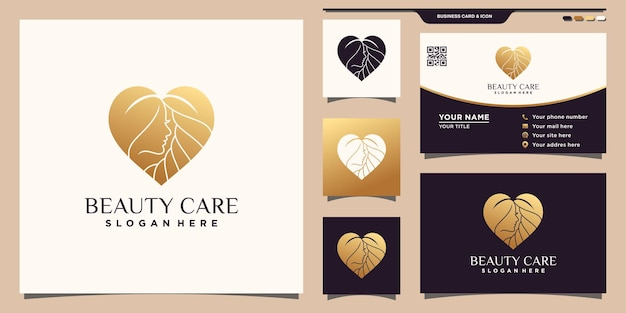 Creative beauty care logo with golden gradient style color and business card design premium vector