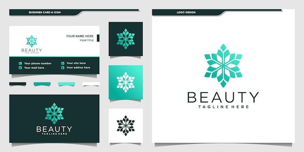 Креативный дизайн логотипа цветка красоты с современными градиентными цветами и визитной карточкой premium векторы
