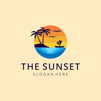 Creative beauty summer sunset beach sea holiday sign colorful modern recreation logo design vector