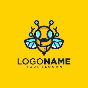 Creative bee robot logo