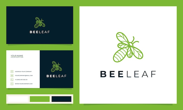 Creative bee with the concept of leaves and business cards