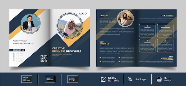 Creative bi-fold brochure template design
