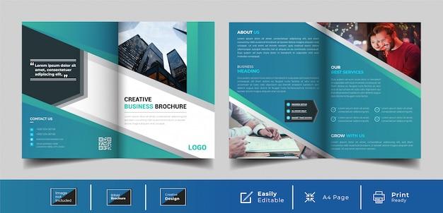 創造的な二つ折りビジネスパンフレットテンプレート