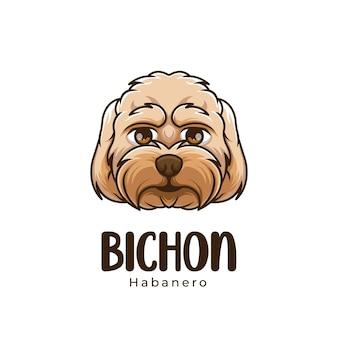 Креативный логотип талисмана мультяшной собаки бишон