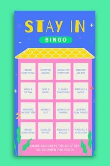 Creative bingo stayin plans instagram story