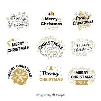 Creative black and golden christmas badge collection