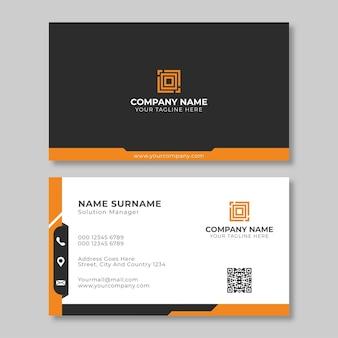 Креативный черно-оранжевый шаблон дизайна визитной карточки