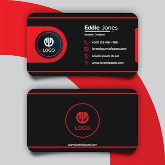 Креативный дизайн шаблона черно-красной визитки
