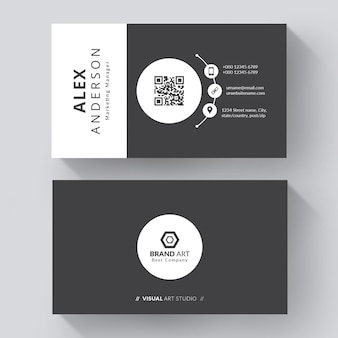 Креативный черно-белый шаблон визитной карточки