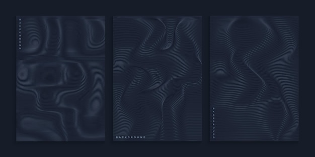 Creative black cover design with rippled wavy lines