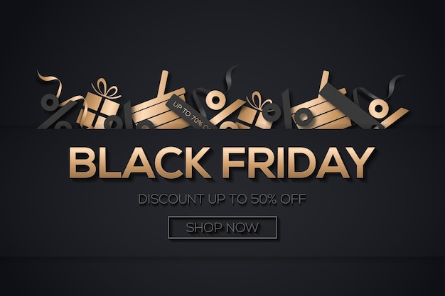 Creative black friday sale background with a gold and black shopping elements vector