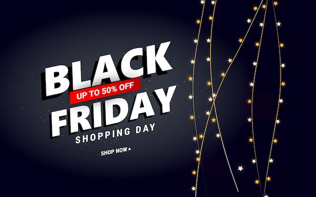 Creative black friday sale  with star confetti for poster, banners, flyers, card.