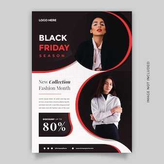 Creative black friday season flyer template with 2 two image  with a4 format size