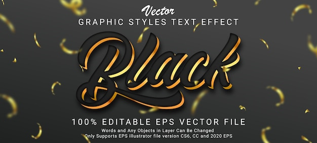 Creative black gold text style effect