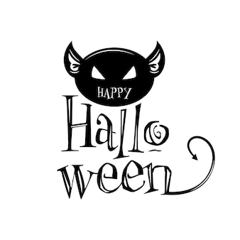 Creative black halloween text with scary cat face on white background