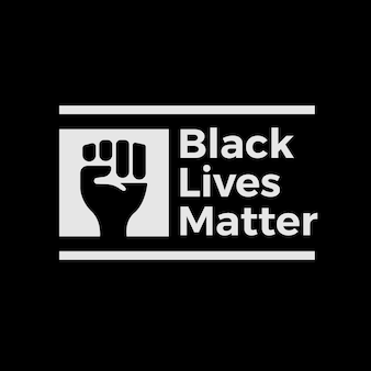 Creative black lives matter lettering with drawn fist