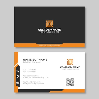 Creative black and orange business card design template