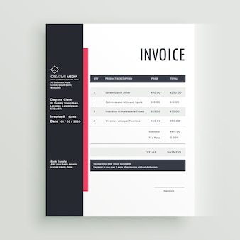 Creative black and pink invoice template