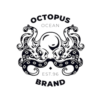 Creative black and white octopus logo