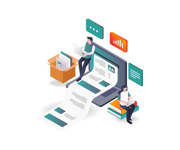 Creative blog and web articles in isometric design