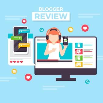 Creative blogger review concept