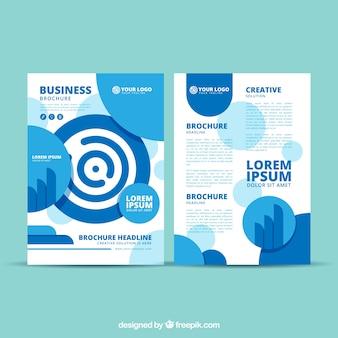 創造的な青ビジネスのパンフレットのテンプレート