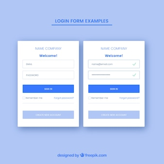 Creative blue login form