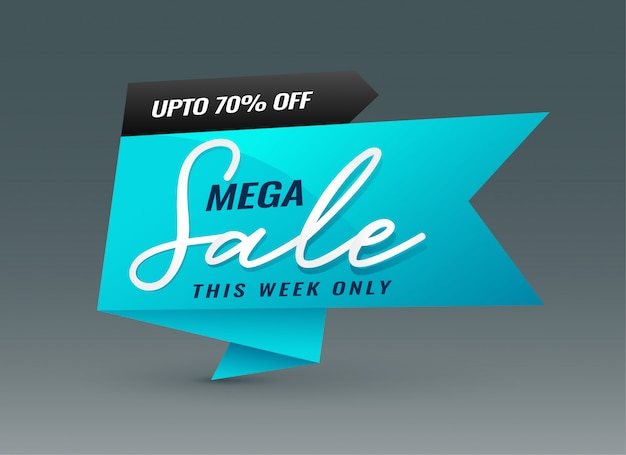 Creative blue mega sale banner template
