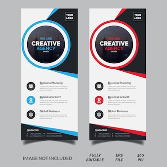Creative blue and red vertical business roll up banner template